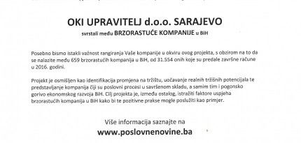 OKI Upravitelj svrstan među brzorastujuće kompanije u BiH