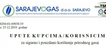 Uputa za sigurno i pouzdano korištenje prirodnog gasa