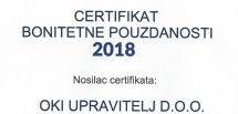 OKI Upravitelj nosilac certifikata bonitetne pouzdanosti za 2018. godinu
